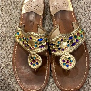 Jack Rogers Jeweled Gold Sandals